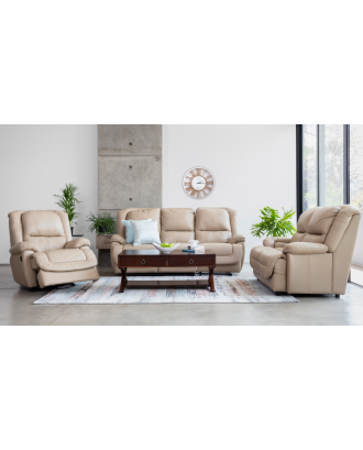 Madison Full leather 3 Piece 5 Recliner Beige