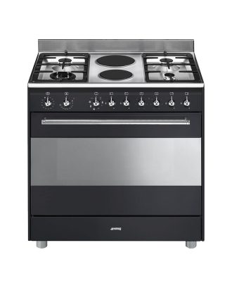 SMEG Stove 5 Gas Burner with Electric Oven Black