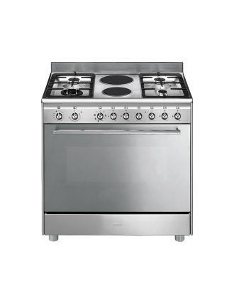 SMEG Stove 5 Gas Burner with Electric Oven Silver